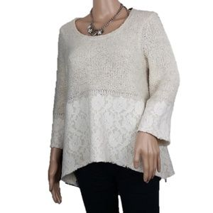 Anthropologie Knitted & Knotted Felt Lace Sweater